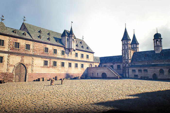 Worms around 1521, the Bishop's Palace; 3-D rendering by FaberCourtial