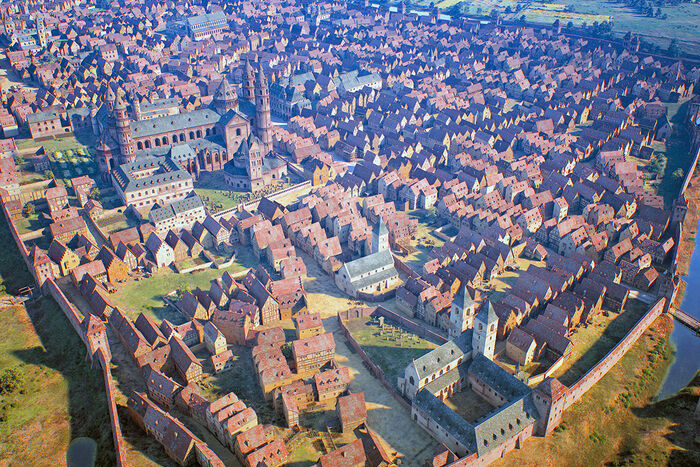 Worms around 1521, St Magnus' Church and St Andrew's Seminary; 3-D rendering by FaberCourtial