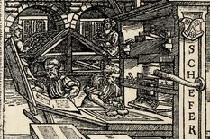 The Schöffer print shop in a woodcut from around 1586