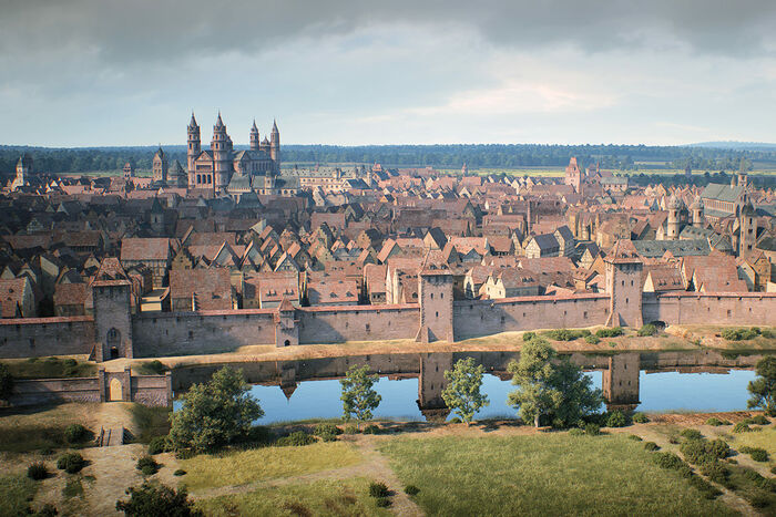 Worms around 1521, the city walls around Luther's Gate; 3-D rendering by FaberCourtial