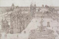 Worms Cathedral and the Bishop's Palace as they were before 1689, drawing by Hamman, photo: Worms City Archive