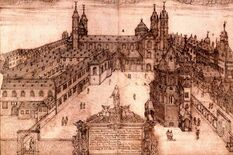 Southern view of Worms Cathedral as it was before 1689, drawing by Hamman, photo: Worms City Archive