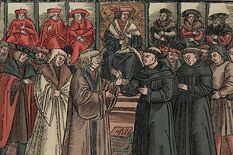 Luther at the Diet of Worms, coloured woodcut from 1521, Eichfelder Archive